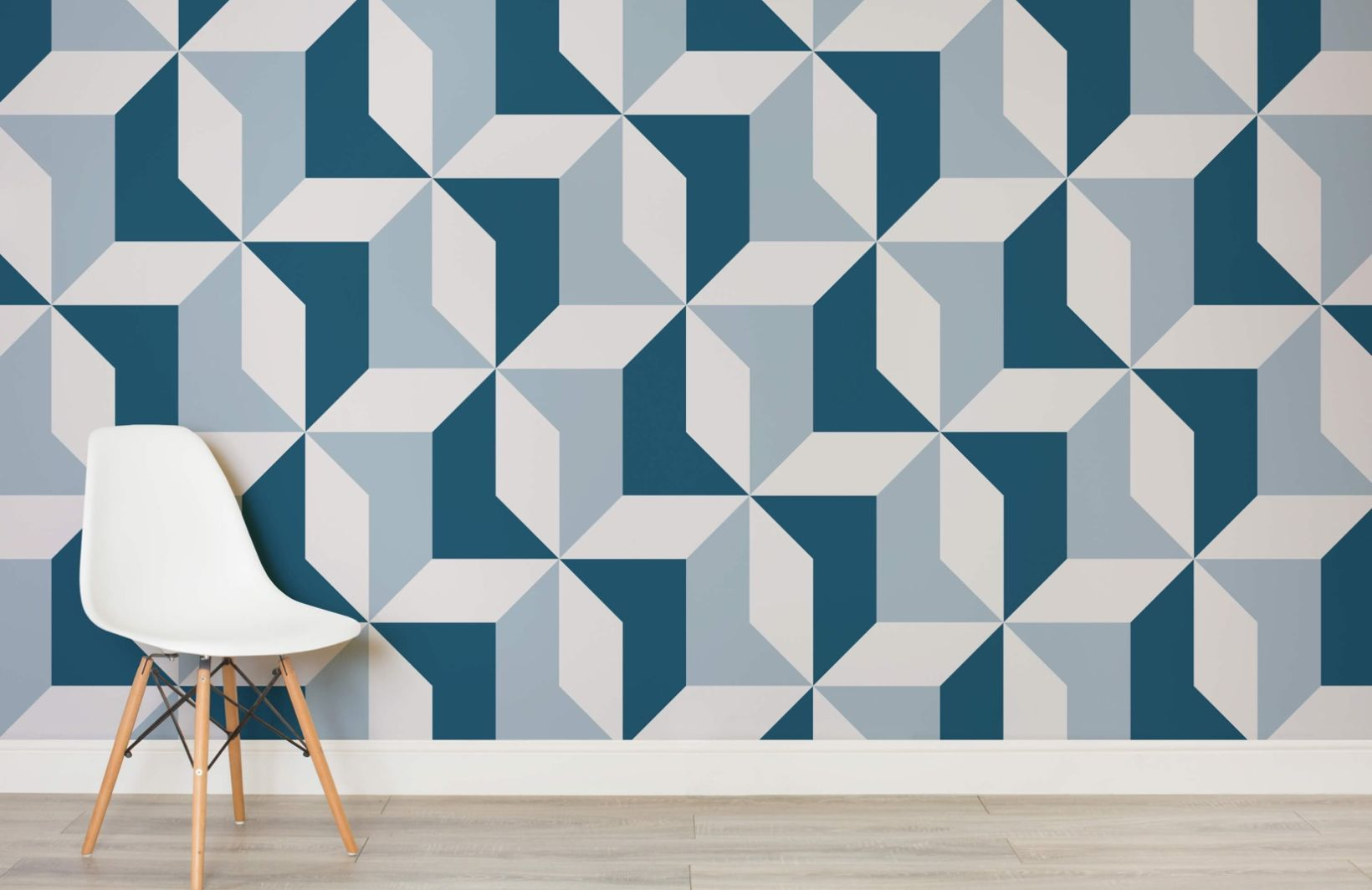 Abstract Blue Geometric Wallpaper Kitchen