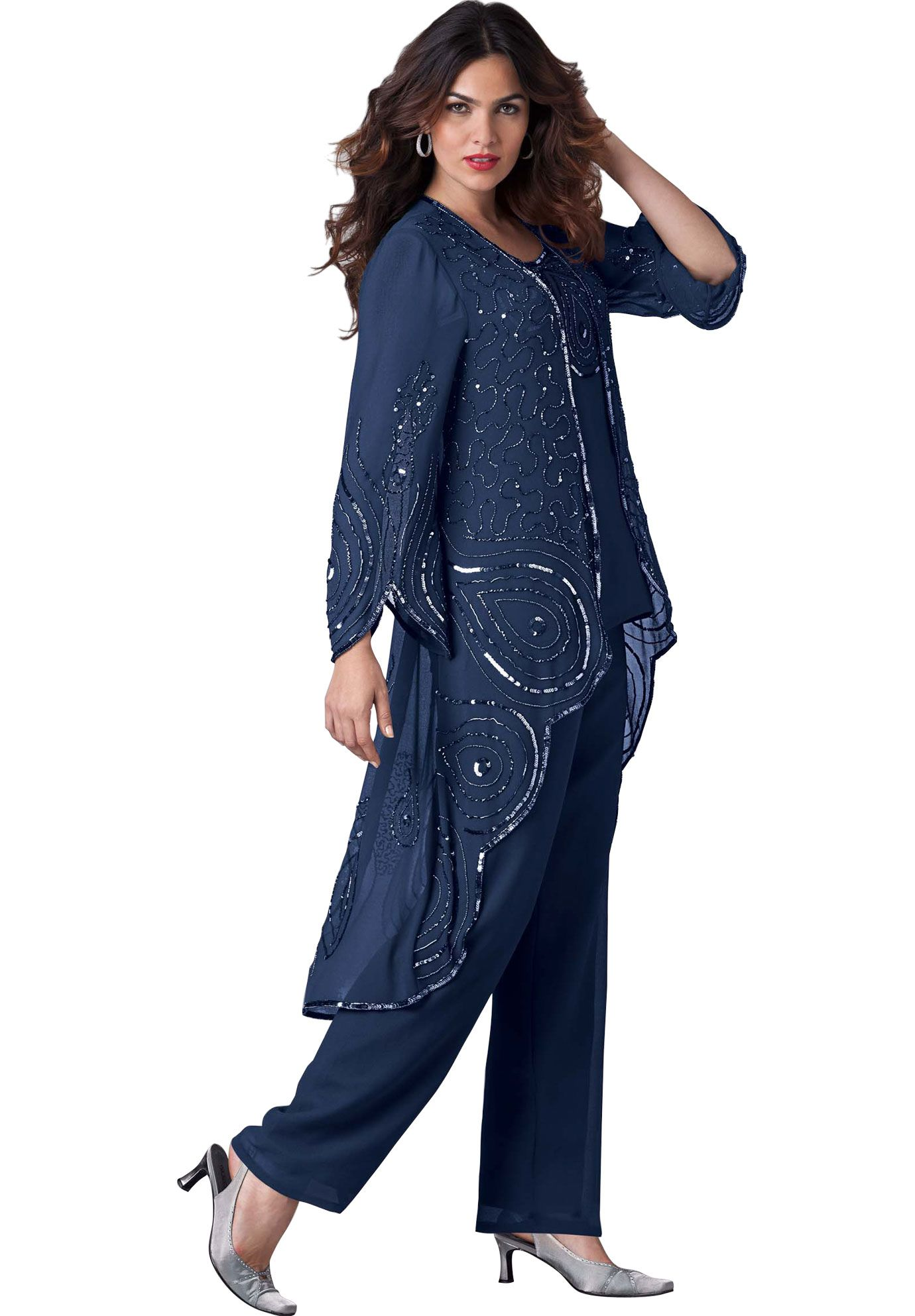 Sparkling sequins and beads adorn the sheer geor te duster and