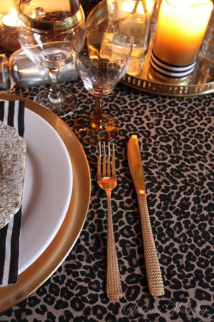 Leopard Gold Table Decorations Festive Africa Christmas Table
