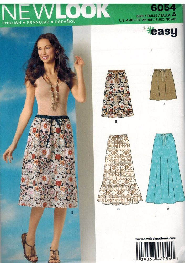 6054 UNCUT New Look Sewing Pattern Misses Classic Pull on Skirt ...