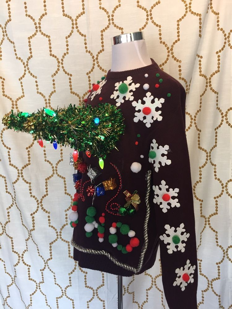 ashleys ugly christmas sweater big boobs trees lights up tacky large clothing shoes