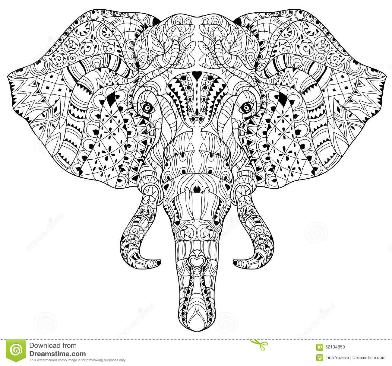 Elephant Head Doodle On White Vector Sketch Stock