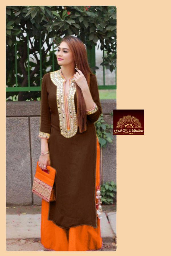 Casual Salwar Kameez : Brown-Coloured-Semi-Stitched-Salwar-Kameez Casual Salwar Kameez : Brown-Coloured-Semi-Stitched-Salwar-Kameez Brown Things brown color salwar kameez