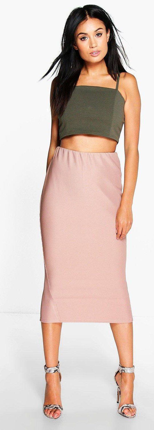 Reina Chunky Rib Longer Line Split Back Midi Skirt - Skirts  - Street Style, Fashion Looks And Outfit Ideas For Spring And Summer 2017