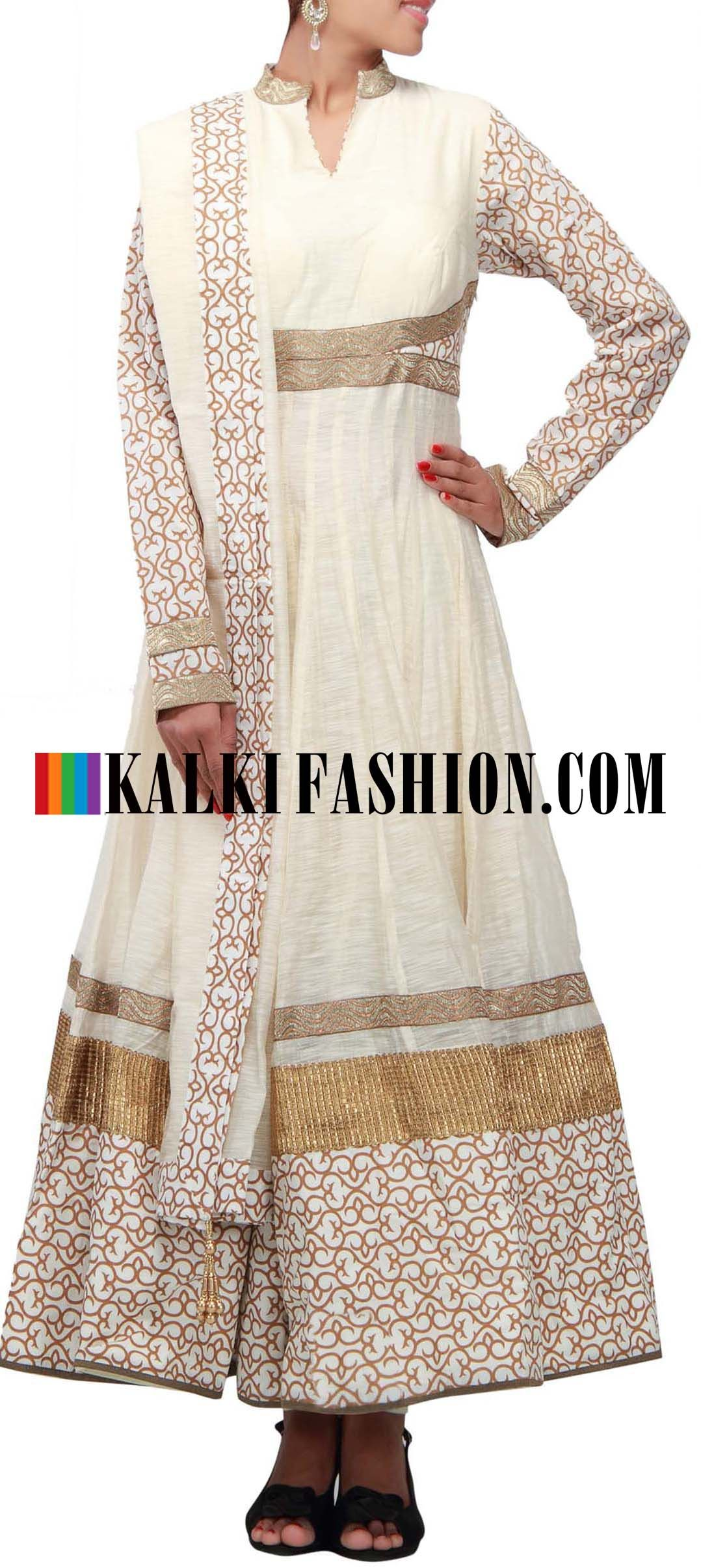 Buy Online from the link below. We ship worldwide (Free Shipping over US$100) http://www.kalkifashion.com/catalog/product/view/id/9638/s/cream-anarkali-printed-suit-enhanced-in-gotta-patti-lace-only-on-kalki/ Cream anarkali printed suit enhanced in gotta patti lace only on Kalki