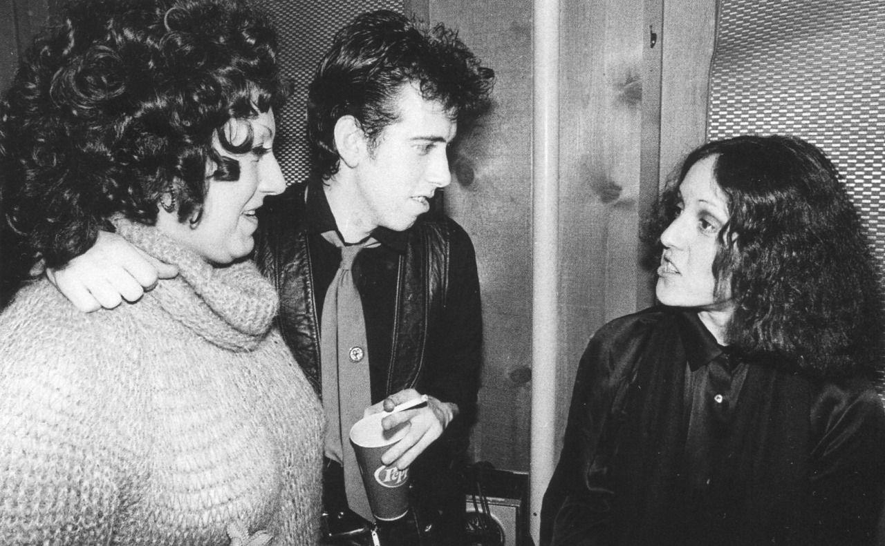 Mick Jones and his mom with Rock Scene editor Lisa Robinson photographed by Bob Gruen