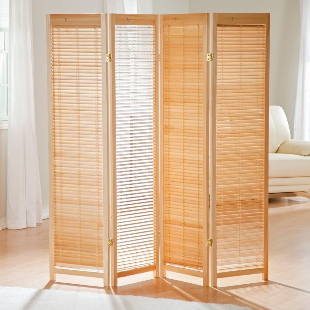 4 Panel Room Divider Wooden Shutter Freestanding Folding Screen Portable  Home #Tranquility #Traditional