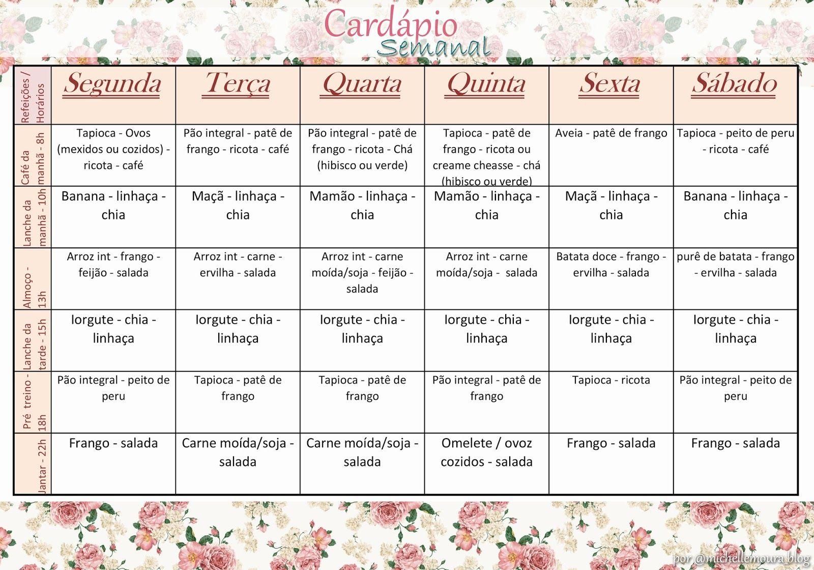 Cardapio Semanal Download Michelle Moura Cardapio Semanal