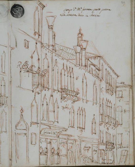 """Canaletto - schizzo o """"scarabotto"""" di Venezia."""