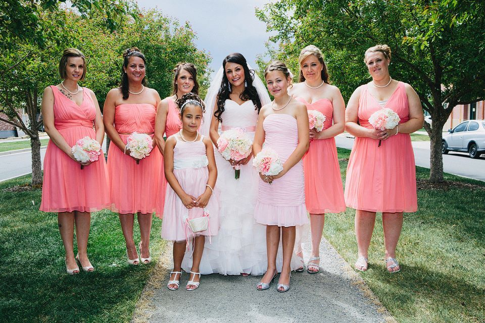 Love the mix of styles and color sin this real Donna Morgan #wedding ...