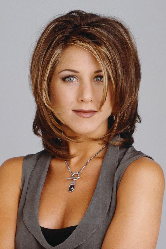 Hellbraun Haarfarbe Jennifer Aniston mit einem kurzen Bob Frisur