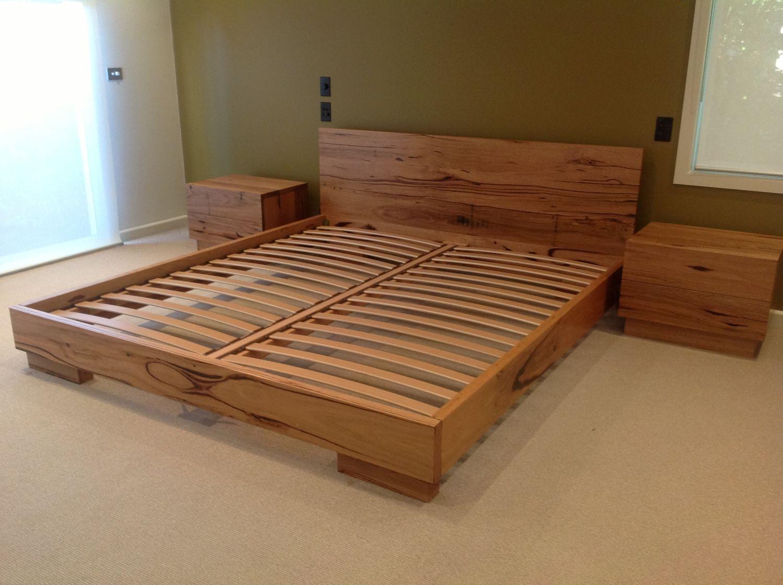 Recycled hardwood timber bed & bedsides  Hardwood bed, Wooden bed