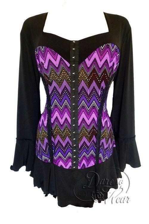 2099f5a208 Dare To Wear Victorian Gothic Women s Plus Size Corsetta Corset Top Purple  Wave