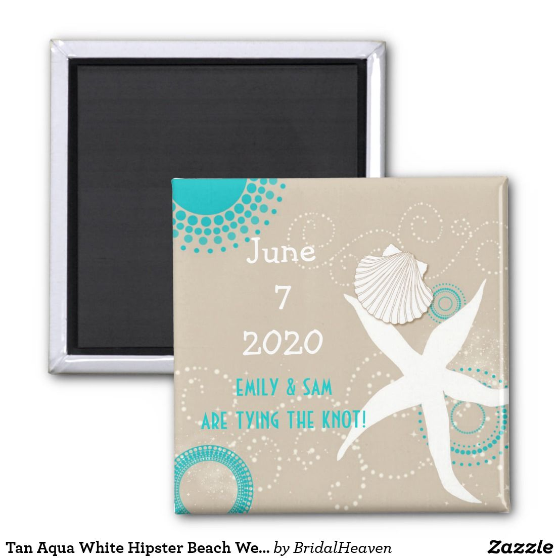 Teal beach wedding  Tan Aqua White Hipster Beach Wedding Save the Date Magnet Lovely