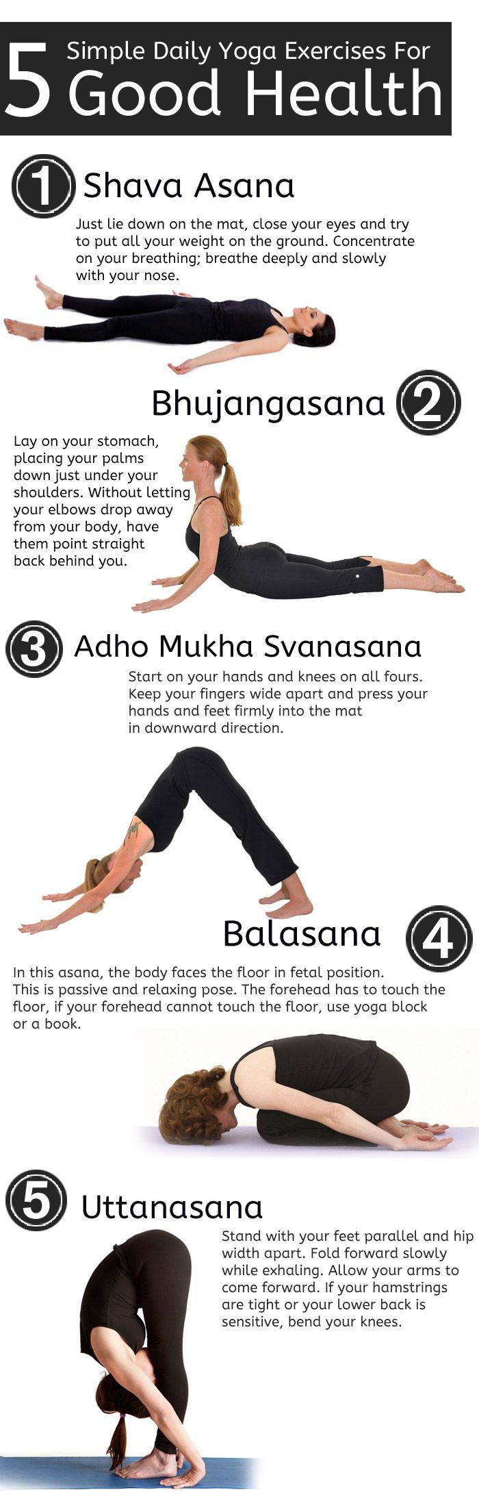5 simple and essential beginner s yoga poses for good health daily yoga yoga and exercises. Black Bedroom Furniture Sets. Home Design Ideas