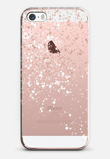 Modern Elegant Rose Gold Glitter White Confetti Splatters By Girly