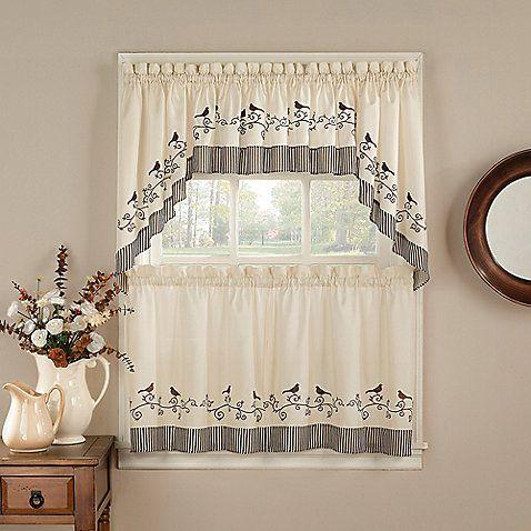 Birds Window Curtain Tiers