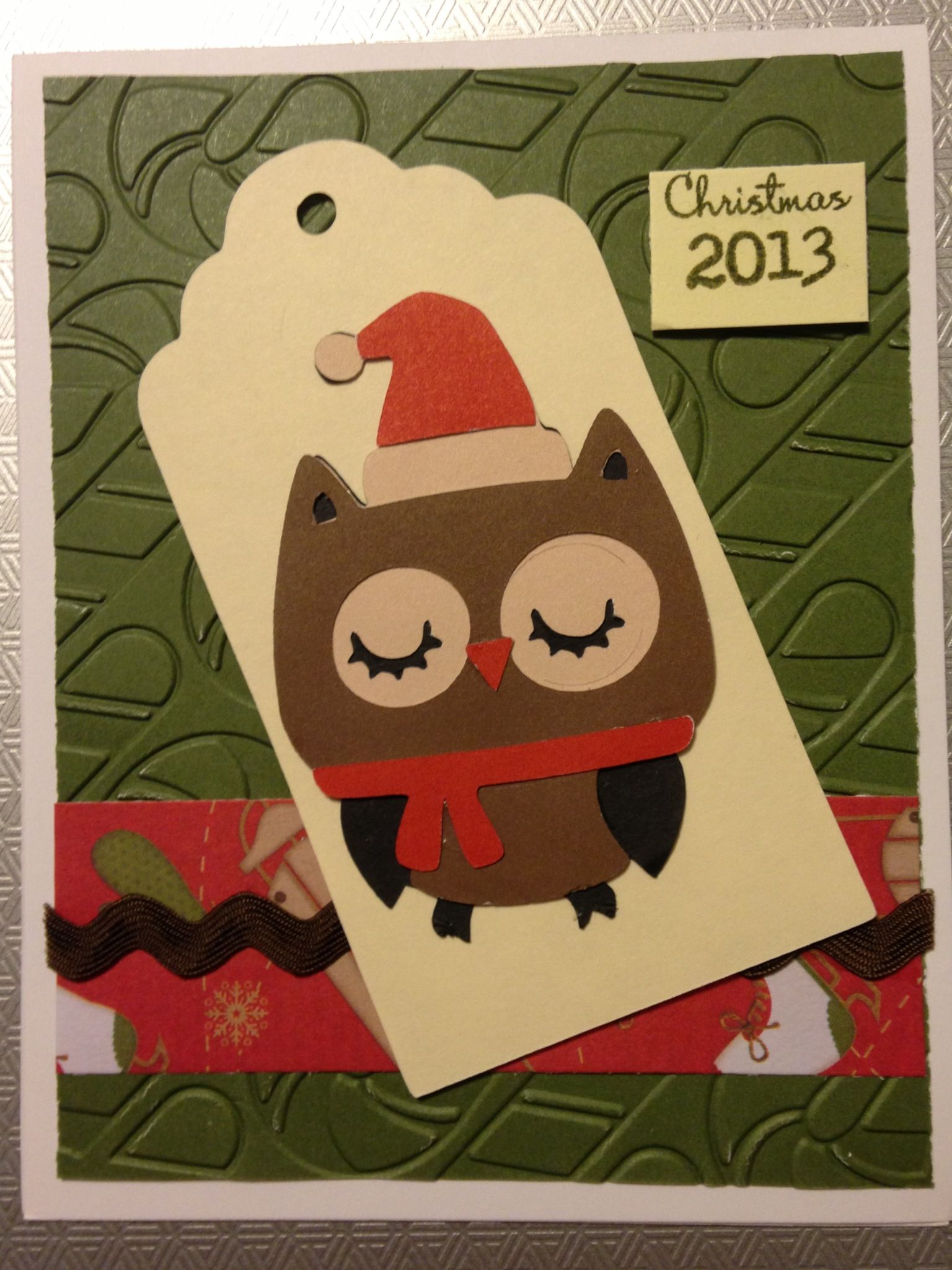 Homemade Christmas Card A Christmas Owl with embossed candy canes