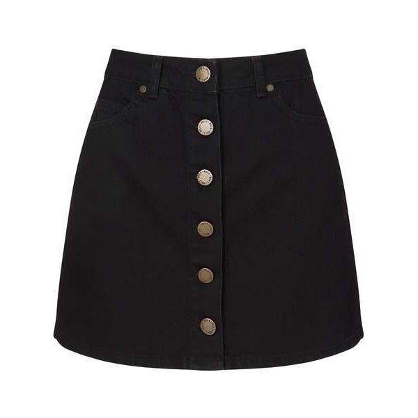 b0fca29261 Black Button Through Denim Mini Skirt (355 GTQ) ❤ liked on Polyvore  featuring skirts