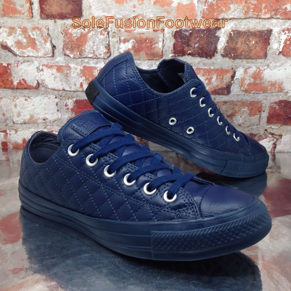 549c025fa73a Converse All Star Mens Quilted Leather Trainers Blue size 6 Shoes Womens US  8 39