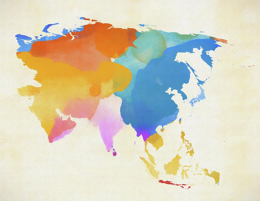 Colorful Asia Map By Dan Sproul Asia Map Art Map Painting