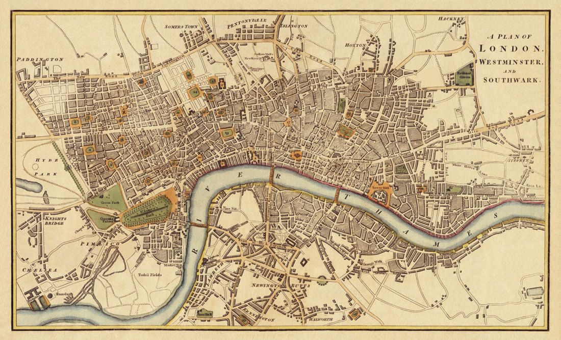 "London Antique map Print 20 x 33 "" $46 00 via Etsy"