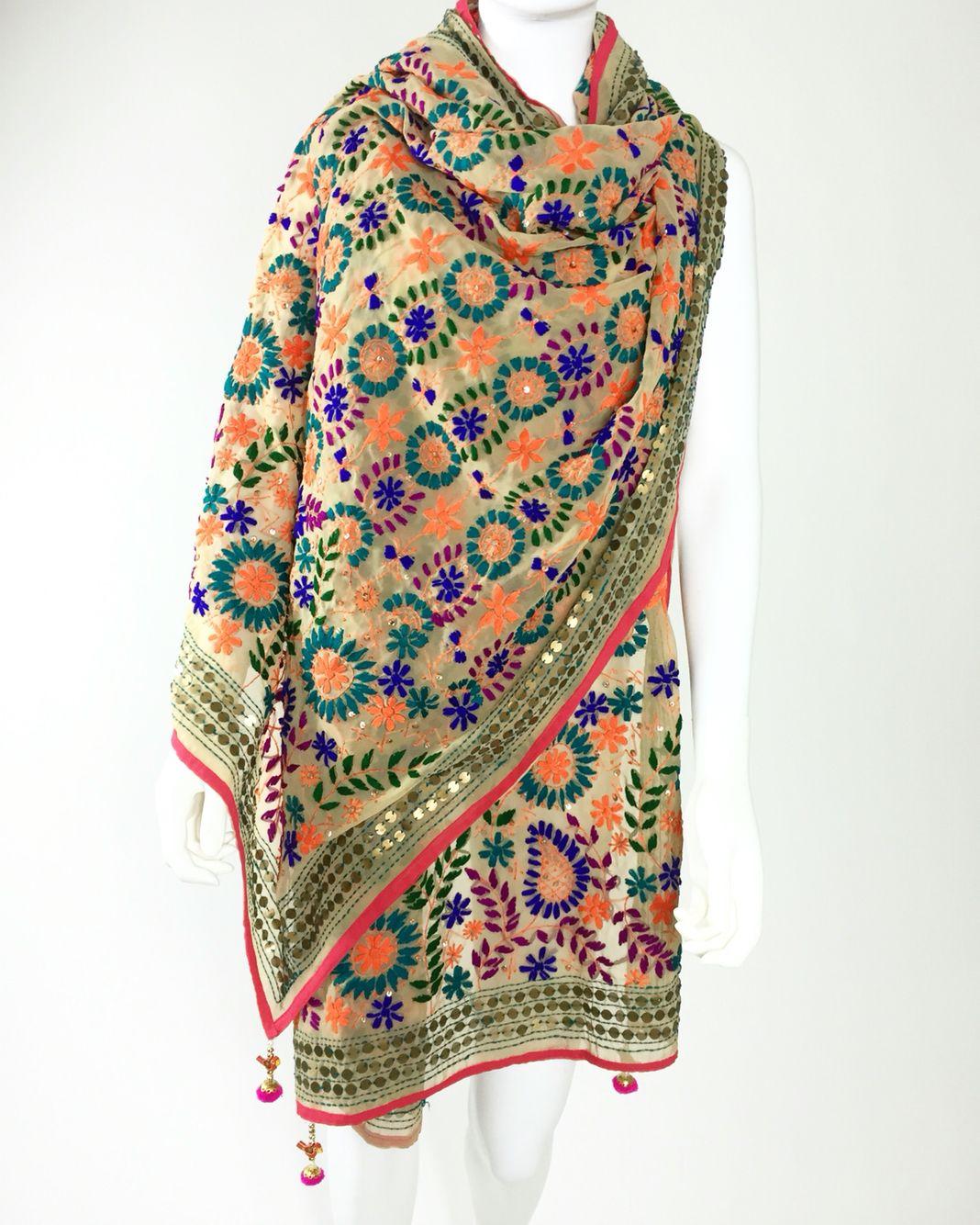 Punjabi Hand Embroidery Phulkari Faux Chiffon Dupatta, Stoles, Multicolored and custom designs.