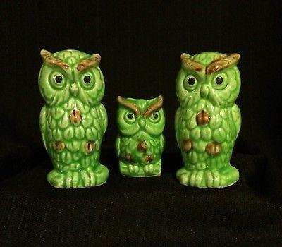 Set Of 3  Vibrant Green Owl Salt  N  Pepper Shakers, Toothpick Holder