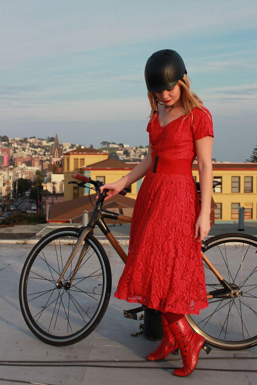 Black & Red, bikepretty, bike pretty, cycle style, cycle chic, bike model, girl on bike, bike fashion, cute bike, red, vintage dress, 50s dr...