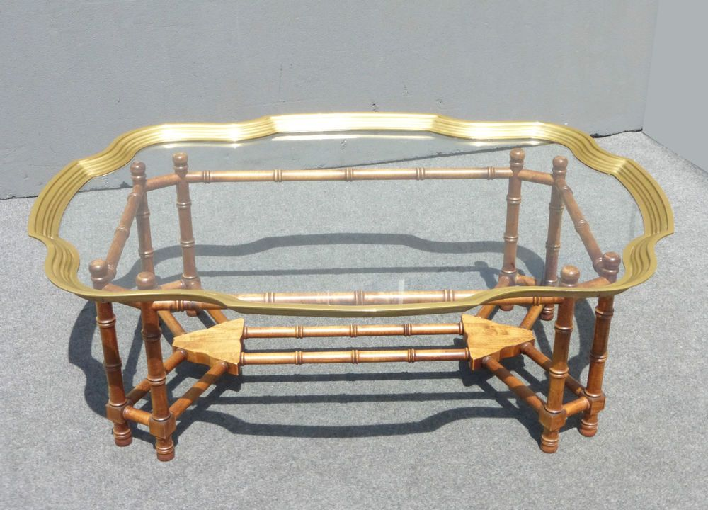 Scalloped Edge Brass GlassTop COFFEE TABLE Faux Bamboo WOOD Base