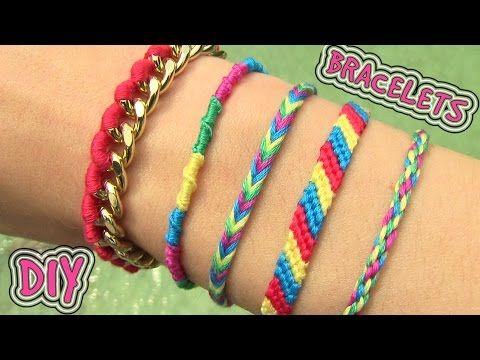 DIY #18: Friendship Bracelets, 4 modelos fáceis (pulseira da amizade/hippie) - YouTube