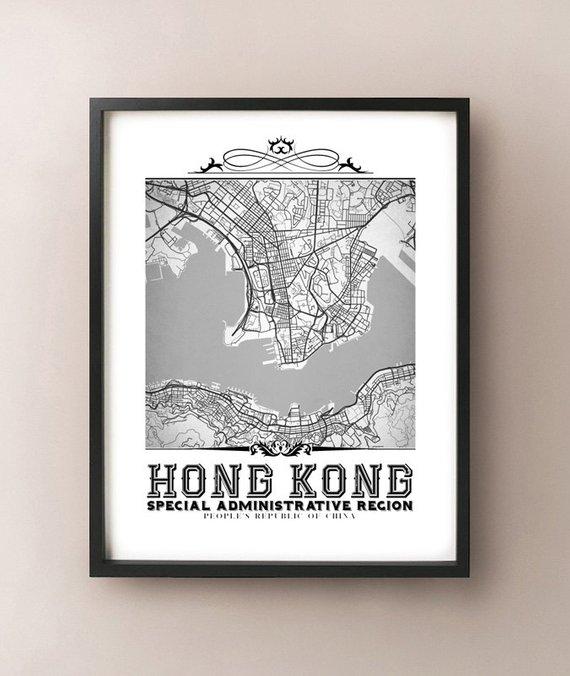 Hong Kong Vintage Style Black & White Map Art Print Hong Kong