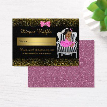 name little princess diaper raffle tickets glitterpink business card