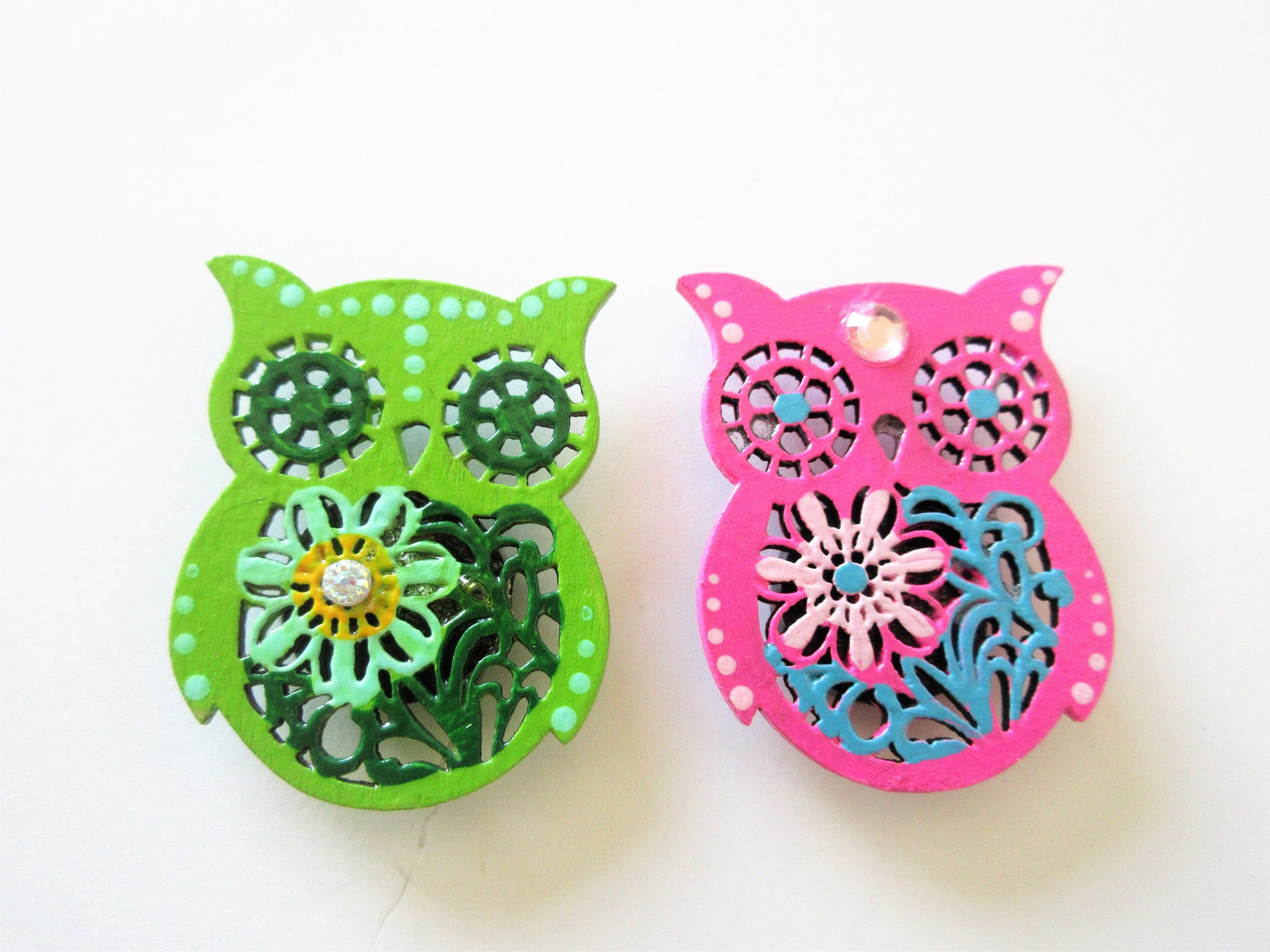 Colorful Owl Magnets Owl Decor Handpainted Magnets Painted Home Decor Owl Kitchen Small Gift Ideas Colourful Kitchen Decor Owls Floral Magnets Small Gifts Small Business Gifts