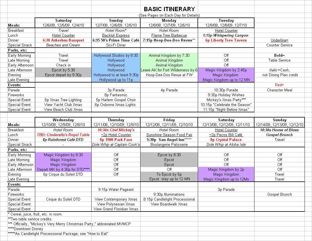 Basic  December Disney World Itinerary  Disney Trips Disney