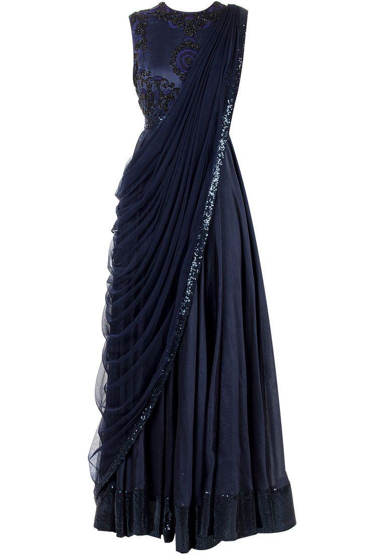 6a1085af94c583 Black saree gown | Indian Elegance | Fashion, Sari dress, Indian dresses