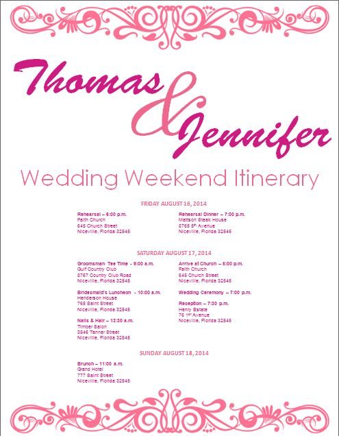 wedding itinerary wedding itinerary template bridetodo com and