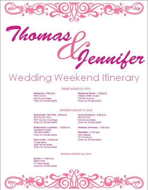 Fresh Wedding Weekend Itinerary Template. Wedding Itinerary Wedding  EW04
