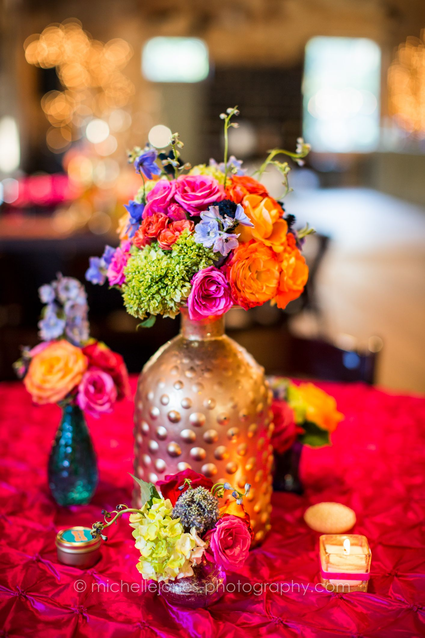 Centerpieces Wedding Reception Gold Vase Hot Pink Orange Lime Green