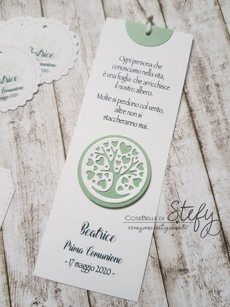 First Communion Confirmation Set Mod Tree Of Life Bookmark Favor Tags And Triangle Box Handmade In 2020 Communion Honey Gifts Sweet Gift Ideas