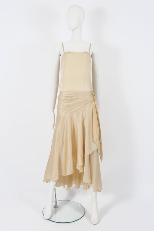 Christian Dior Haute Couture Ivory Silk Evening Dress, circa 1978