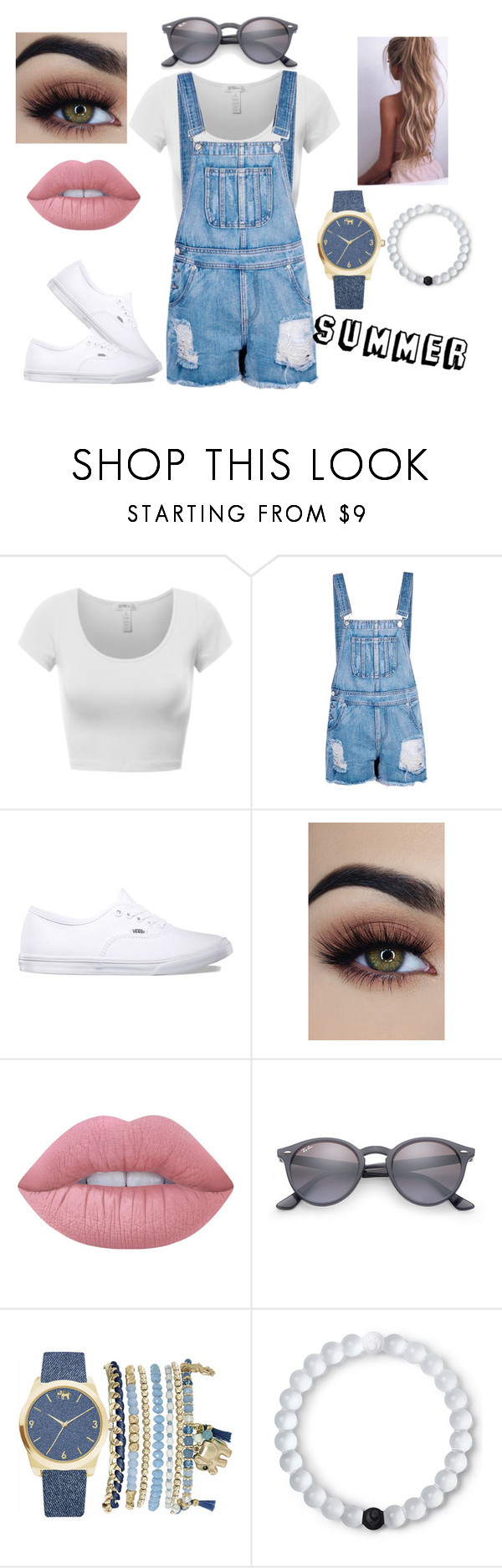 """""""Summer Denim"""" by lollaskye on Polyvore featuring Boohoo, Vans, Lime Crime, Ray-Ban, Mixit and Lokai"""