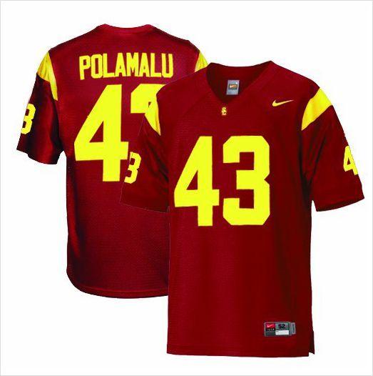 a33e3543767 Youth USC Trojans Troy Polamalu 43 Crimson Authentic NCAA Jersey on eBid  United States