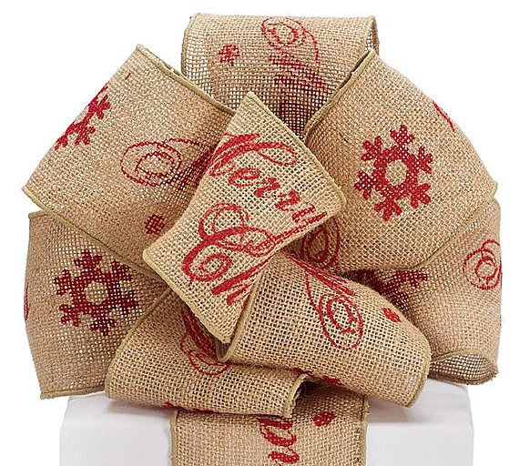 new 4 wide khaki burlap ribbon with red merry christmas