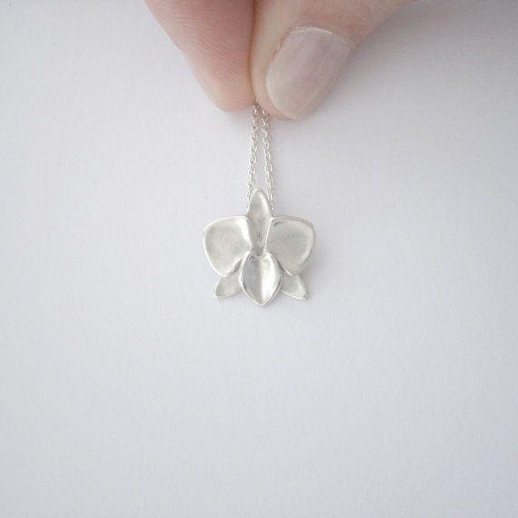Silver Phalaenopsis Orchid Necklace / Moth by ElizabethSMurray