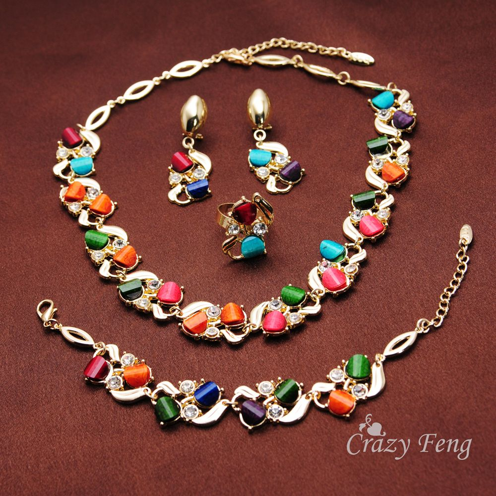 Fashion women new gold plated colorful austrian crystal flower