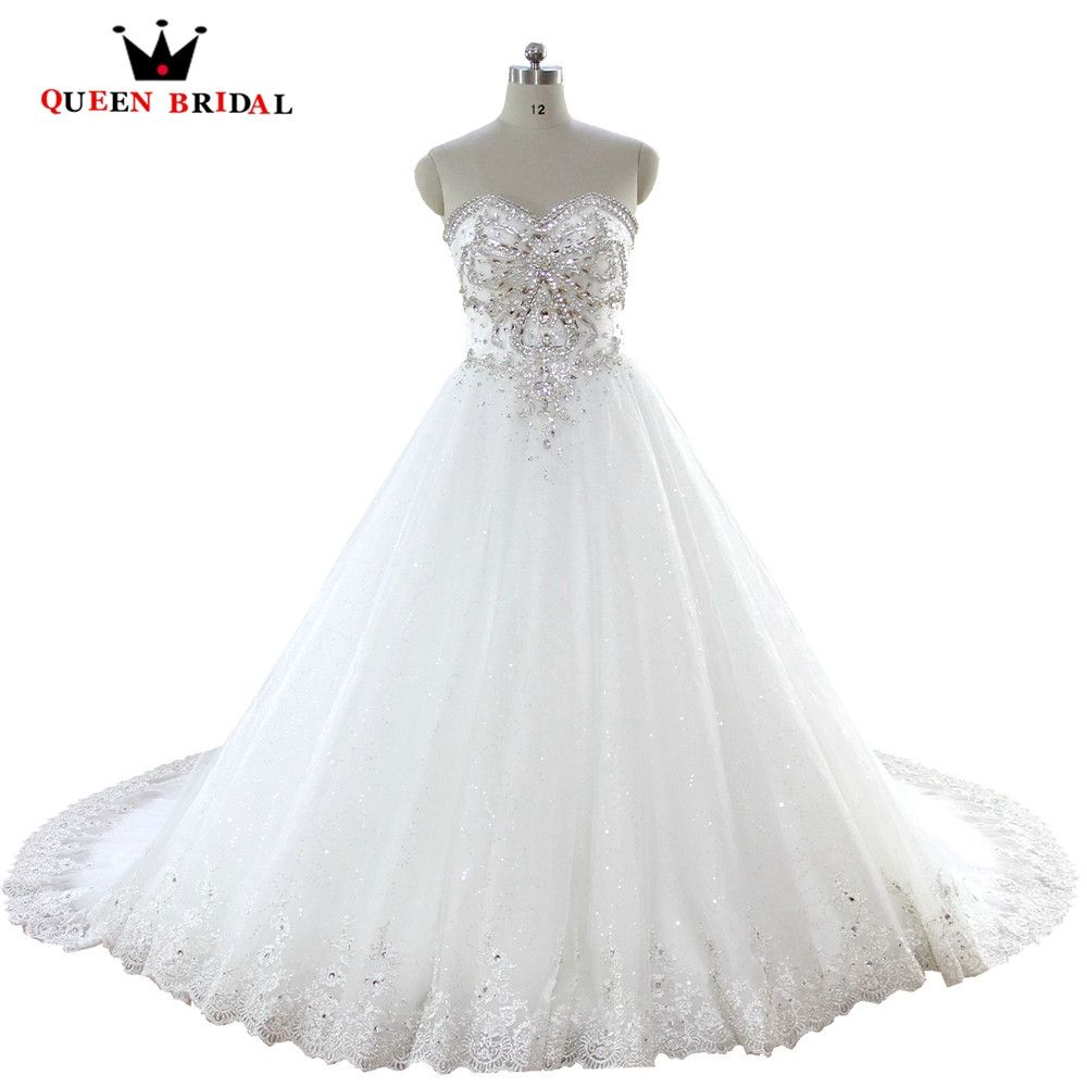 QUEEN BRIDAL 100% Real Photos Ball Gown Crystal Beading Lace Diamond ...