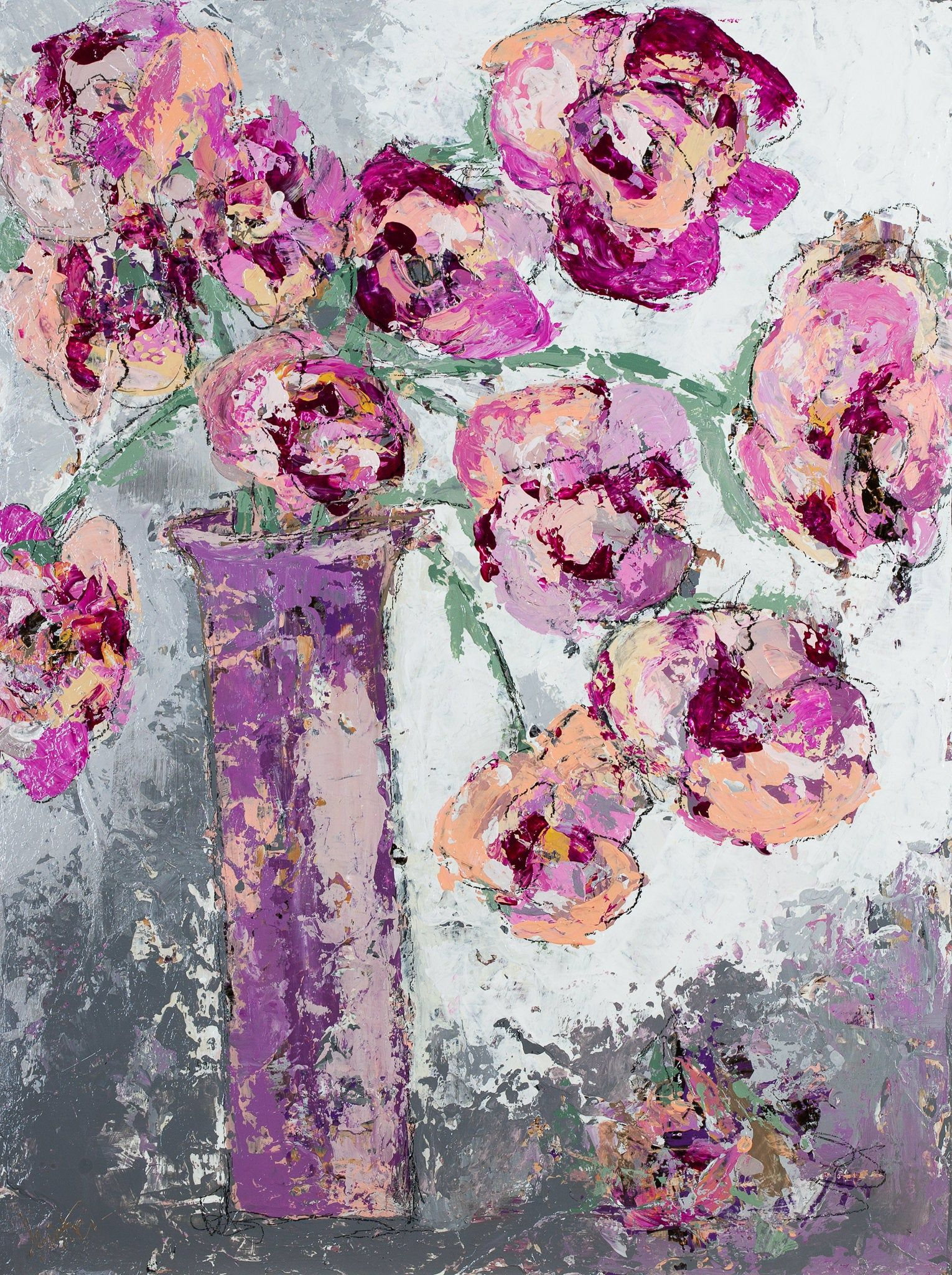 Flowers pink painting abstract art wishing and praying