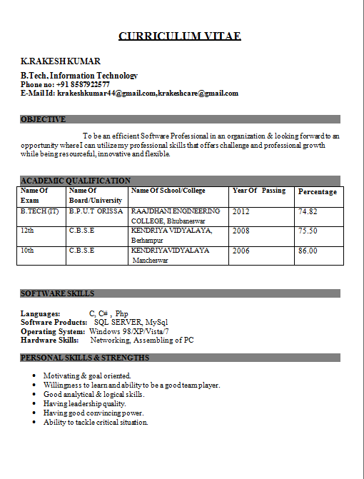 resume format for freshers engineers Parlobuenacocinaco