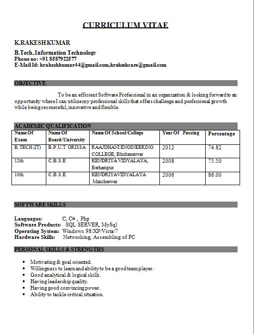 Resume Format Mechanical Engineering Freshers Mechanical